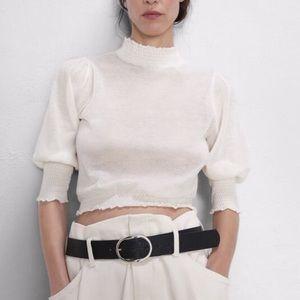Zara Delicate Sheer Smocked Knit Top Size S